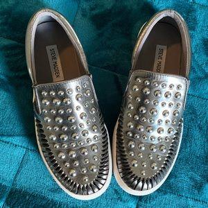 Steve Madden metallic silver slip on sneakers